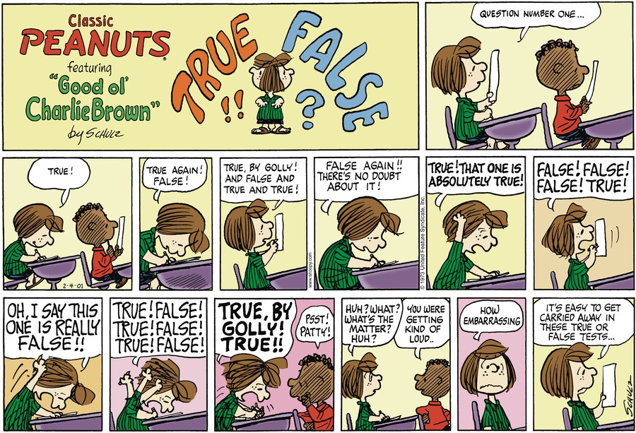 Peanuts Comic Strip for February 04, 2001