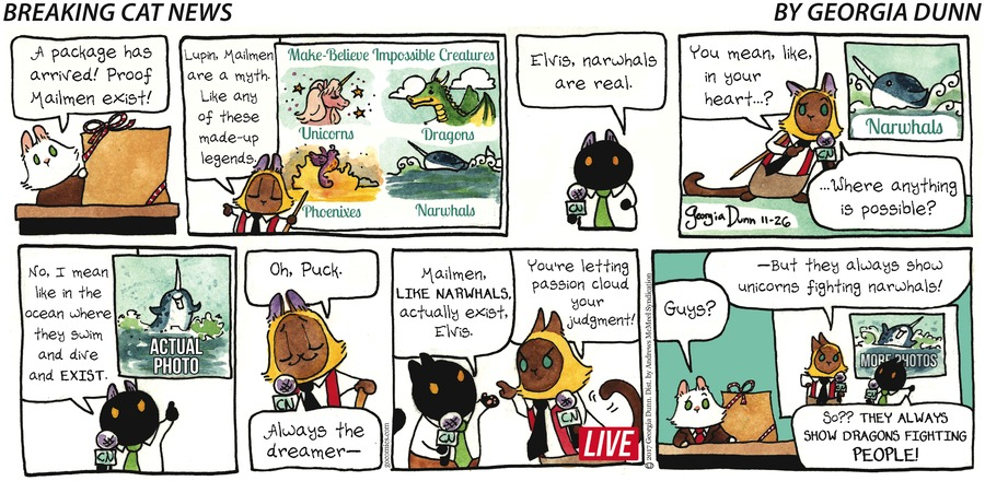 Breaking Cat News for Nov 26, 2017 Comic Strip