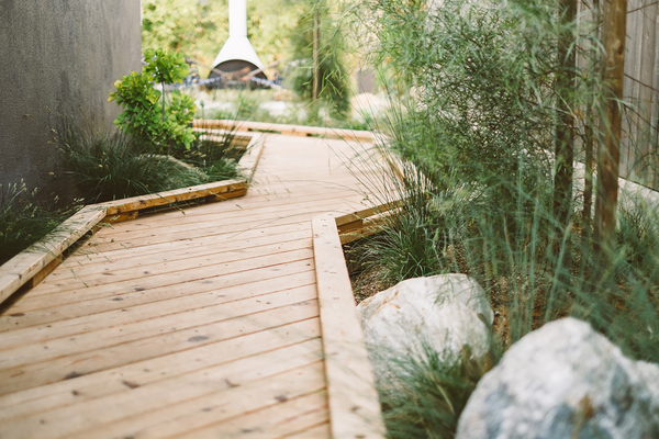 """There is something about walking along a linear wood bridge that is deeply satisfying,"" says Ryan Prange, designer of this rain garden in Encinitas, California. The footbridge in the side yard of this garden is over a bioswale, designed to improve drainage on the lot."