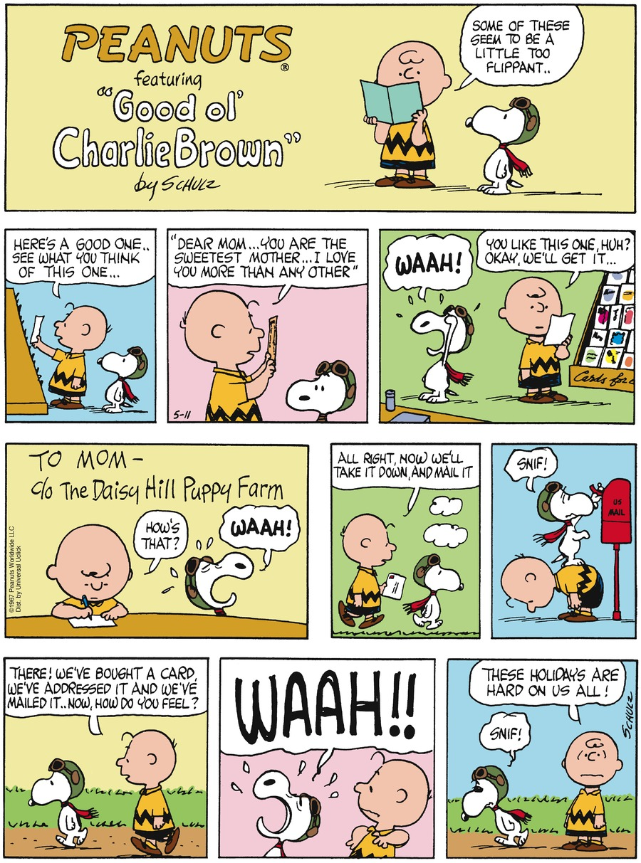 Peanuts for May 11, 2014 Comic Strip