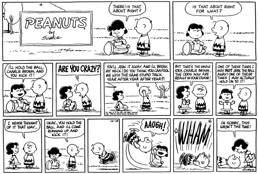 Peanuts Comic Strip for October 16, 1960