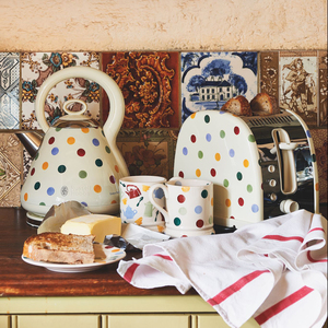 Polka dots are playful on a toaster (and tea kettle), this one a collaboration of Brit Emma Bridgewater and Russell Hobbs.