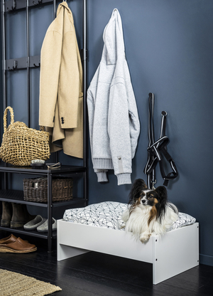 Ikea's pet bed with pad pulls double duty ($39.99), as it can be used in two ways: It can be a cozy nook with walls for a small/medium pet; or, when turned upside down, the piece serves as an elevated bed from which your pet has a clear view in all directions.