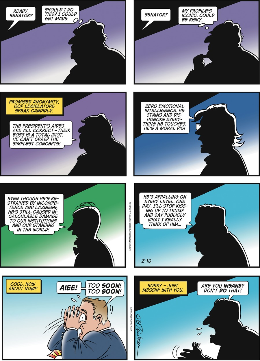 Doonesbury by Garry Trudeau for February 10, 2019