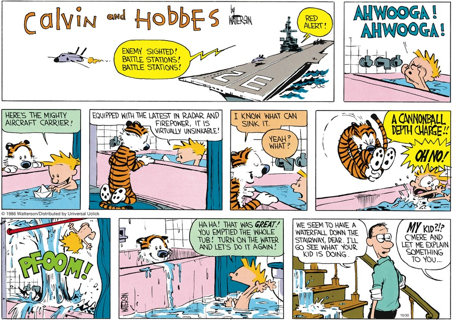 Calvin and Hobbes Comic Strip for October 30, 2016