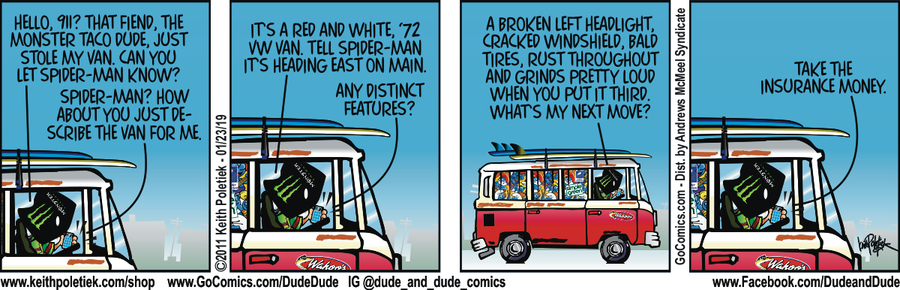 Dude and Dude Comic Strip for January 23, 2019