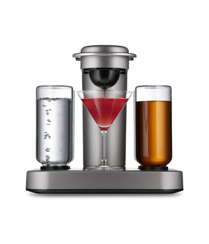 So what happens when you apply coffee pod tech to alcoholic beverages? The Bartesian says it's the first-ever cocktail maker to use capsuled flavors (with your choice of spirits) to create classic and signature cocktails at home. Take the guesswork out of all that jigger measuring with four drink types for starters: Cosmopolitan, Margarita, Whiskey and Sex on the Beach, plus two signature drinks, including Uptown Rocks and Rum Breeze. Coming soon: Old Fashioned, Sazerac, Boulevardier, Manhattan and Long Island Iced Tea. Just add the booze. The European-inspired design features a textured finish and stainless steel accents. Suggested retail: $200.