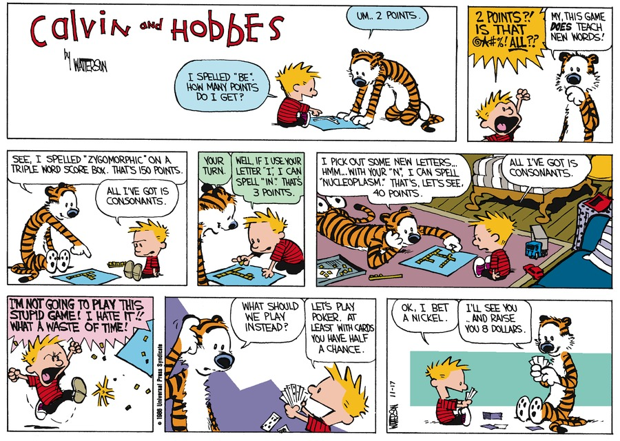 Calvin and Hobbes Comic Strip for December 14, 1986