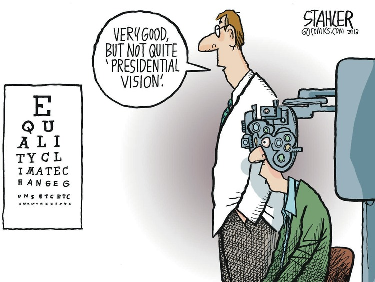 Optometrist: Very good, but not quite 'presidential vision.'