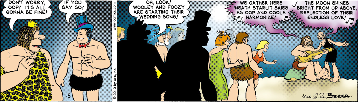 "Guz says, ""Don't worry, Oop! It's all gonna be fine!"" Alley says, ""If you say so!"" Guz says, ""Oh, look! Wooley and Foozy are starting their wedding song!"" Wooley says, ""We gather here 'neath starlit skies as Oop and Ooola harmonize!"" Foozy says, ""The moon shines bright from up above, reflection of their endless love!"""