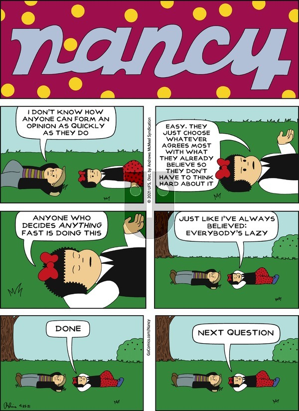Nancy on Sunday April 25, 2021 Comic Strip