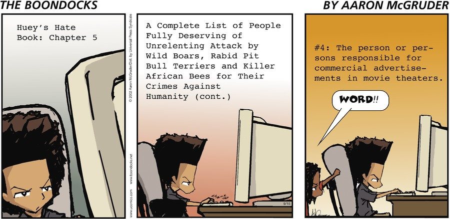 The Boondocks Comic Strip for September 15, 2002