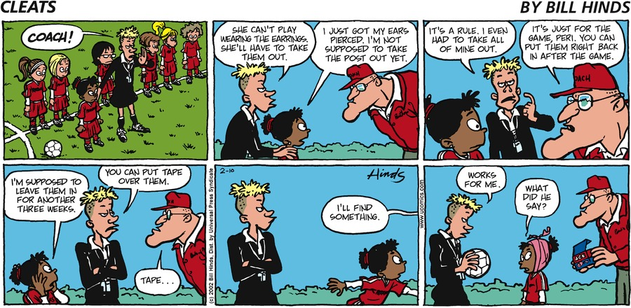 Cleats Comic Strip for February 10, 2002
