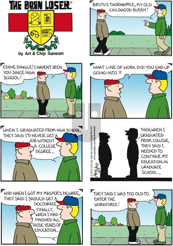 The Born Loser on Sunday April 15, 2012 Comic Strip