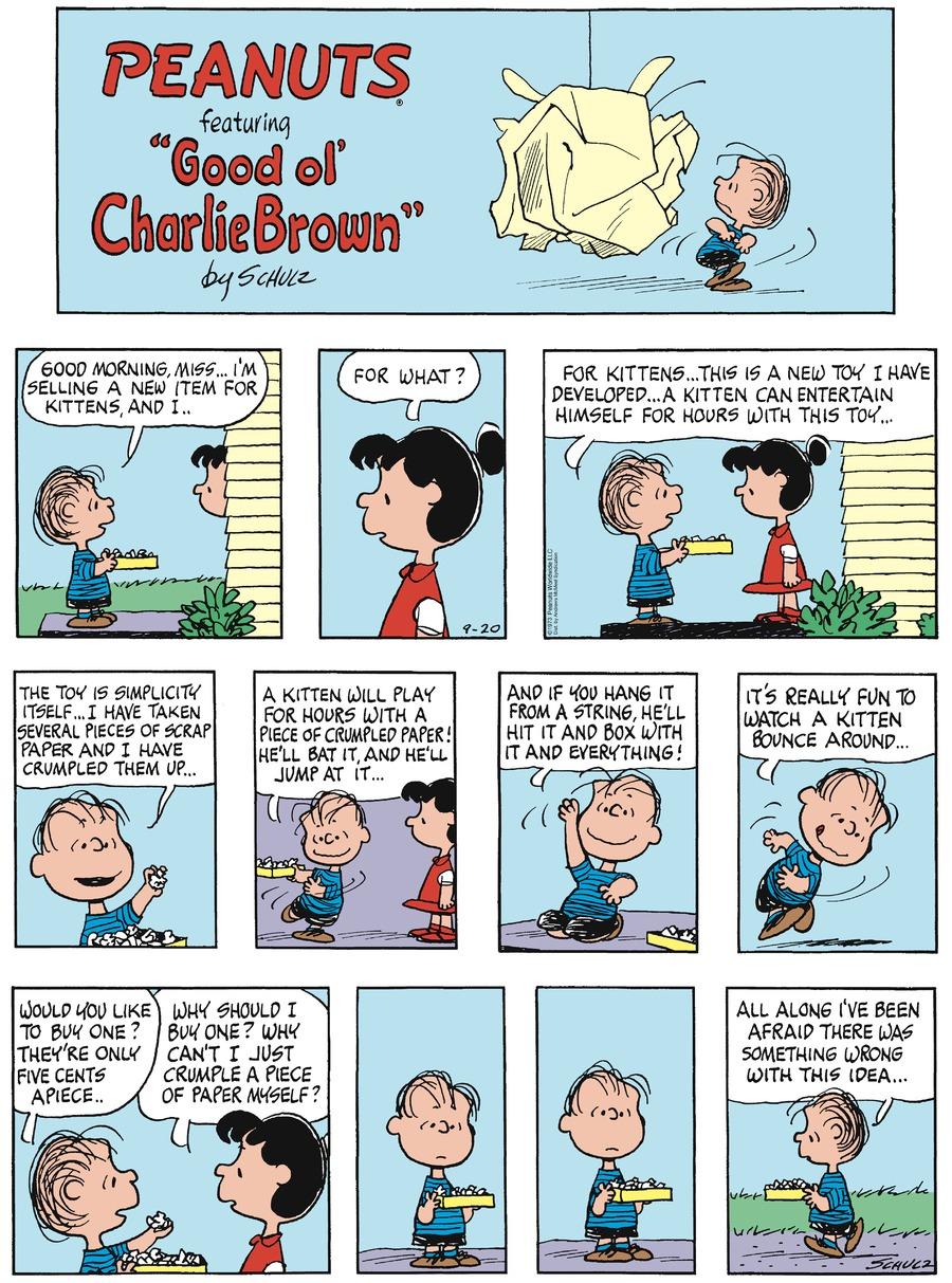 Peanuts Comic Strip for September 20, 2020