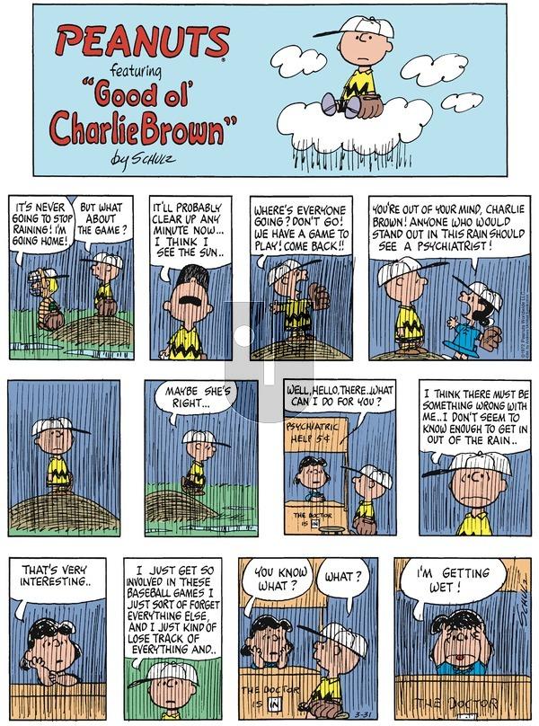 Peanuts - Sunday March 31, 2019 Comic Strip