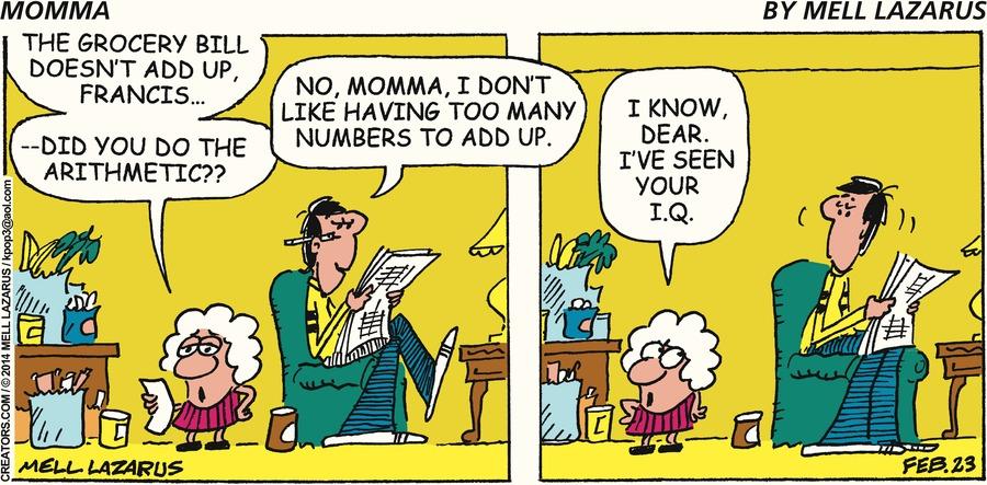 Momma Comic Strip for February 23, 2014