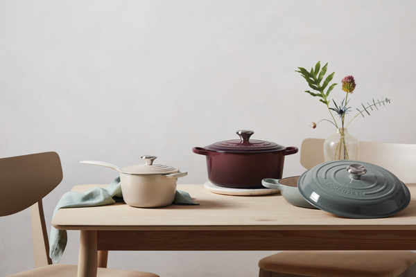 """So this time, Le Creuset has expanded its extensive palette with """"New Calm"""" comforting hues. The colors include meringue, fig, sea salt (shown) and coastal blue. Oh, and there's a choice of silver or gold knobs as well."""