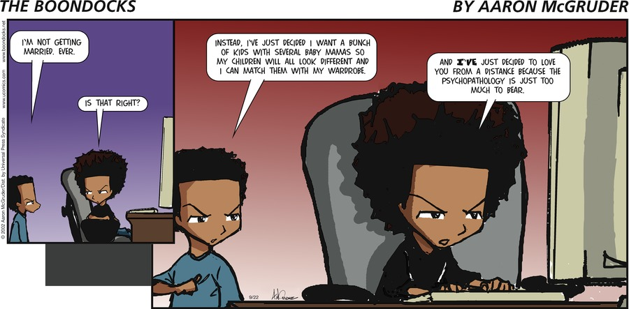 The Boondocks for Sep 22, 2002 Comic Strip