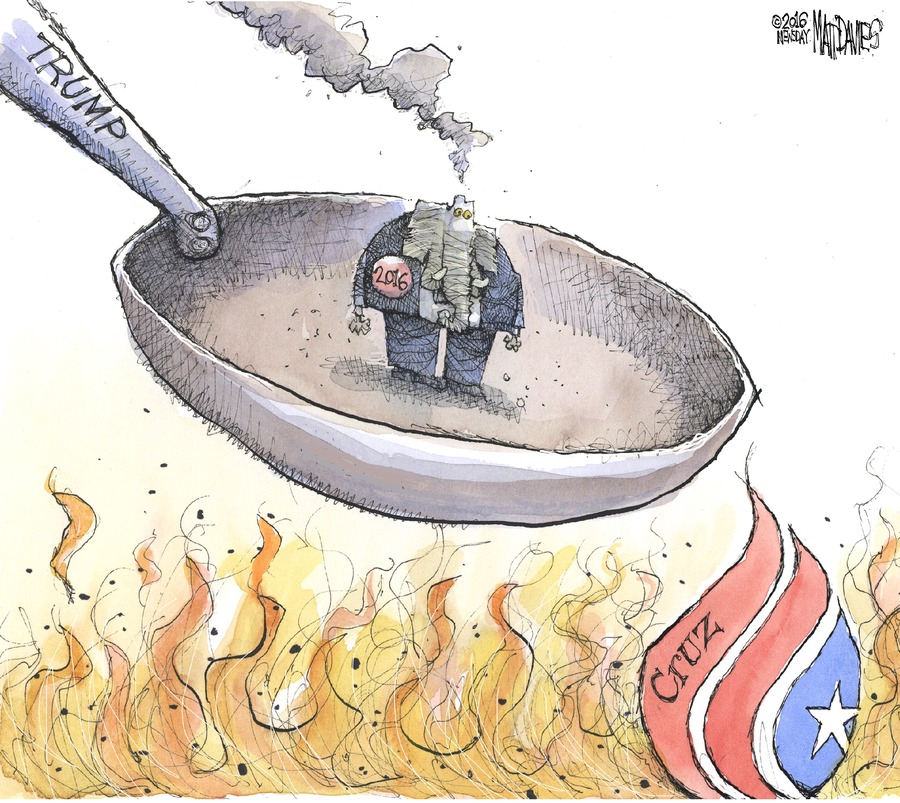 "Republicans are in a frying pan labeled ""Trump,"" and the fire below them is Ted Cruz."
