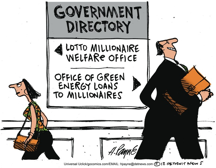 Government directory: Lotto millionaire welfare office. Office of green energy loans to millionaires.