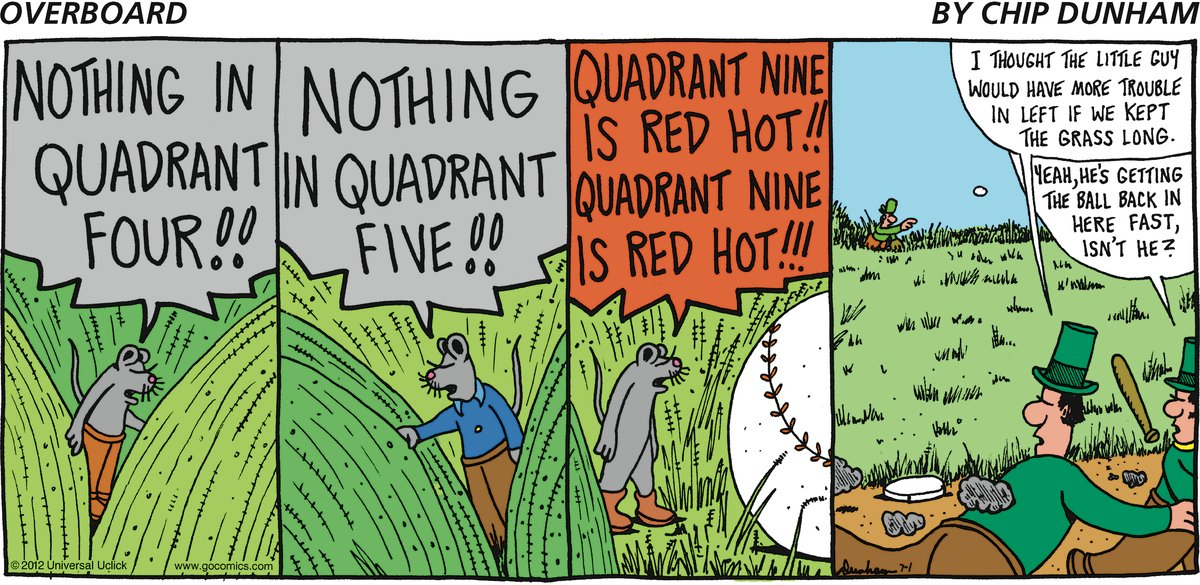 Nothing in quadratic four!!  Nothing in quadrant five!!  Quadrant nine is red hot!!  Quadrant nine is red hot!!   Pirate: I thought the little guy would have more trouble in left if we kept the grass long. Yeah, He's getting the ball back in here fast isn't he?