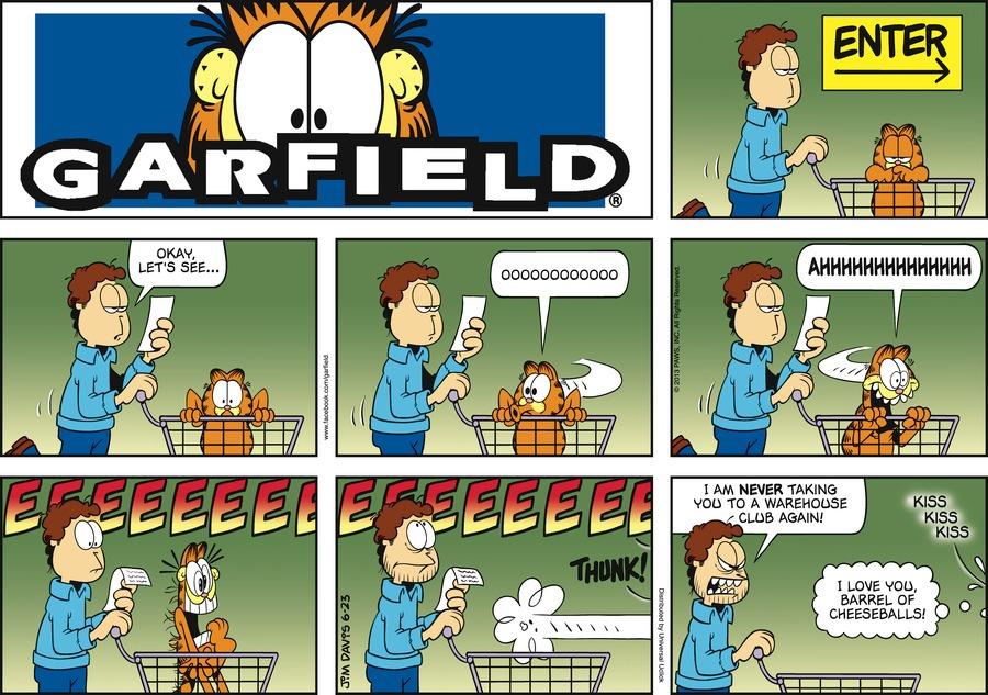 """""""Enter"""" Jon:  Okay, let's see... Garfield:  Ooooooooo.  Ahhhhhhhhhhhh.  Eeeeeeeeeeeeee. *Thunk!* Jon:  I am never taking you to a warehouse club again! Garfield:  *kiss kiss kiss* I love you barrel of cheeseballs!"""