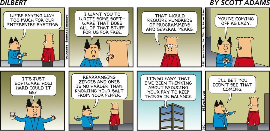 Write An Enterprise System - Dilbert by Scott Adams