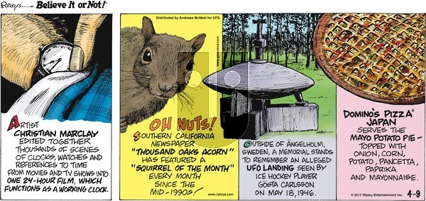 Ripley's Believe It or Not on Sunday April 9, 2017 Comic Strip