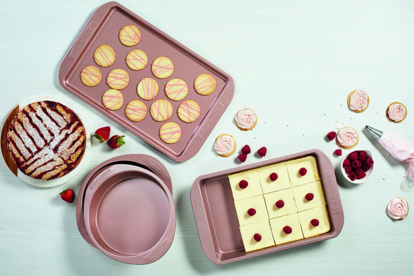 You'll want to bake up a storm -- with sweet or savory ingredients -- on these pretty rosy copper pans from Ayesha Curry. Durable high-performance steel (oven safe to 450 degrees) for excellent resistance to warping and bending. The pans feature a textured diamond pattern surface and high-quality nonstick coating for enhanced browning and easy food release.