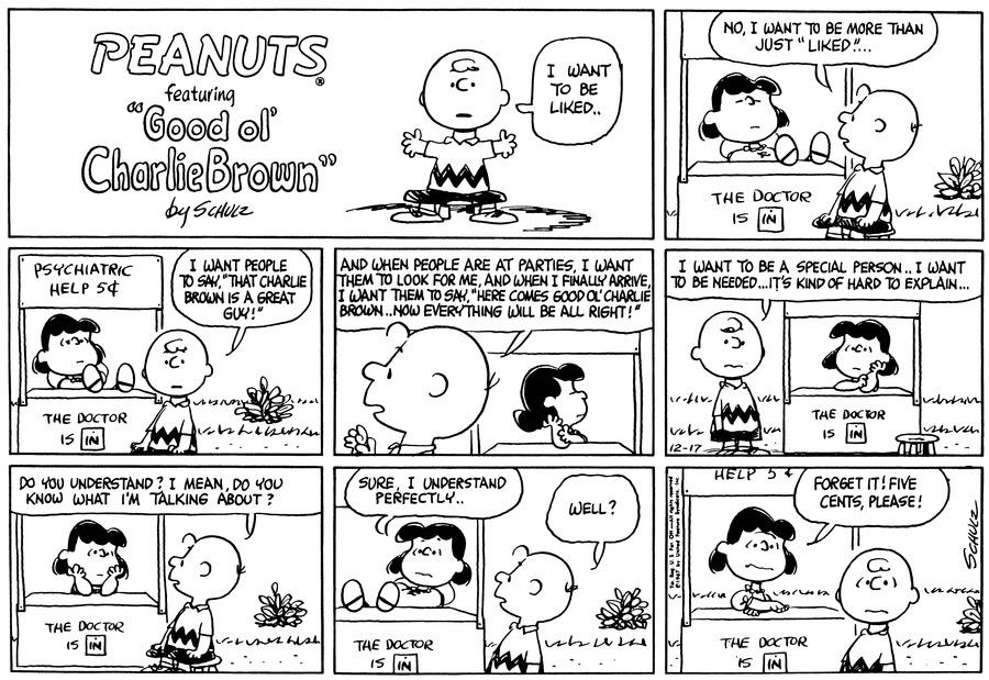Peanuts Comic Strip for December 17, 1967