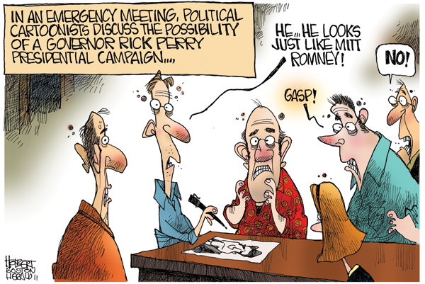 In an emergency meeting, political cartoonists discuss the possibility of a governor Rick Perry presidential campaign... 