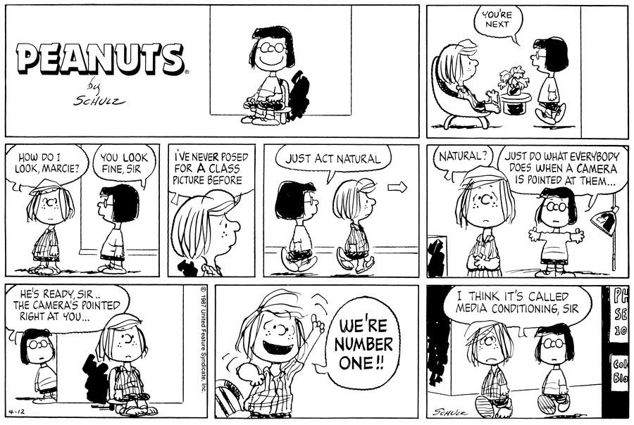 Peanuts Comic Strip for April 12, 1987