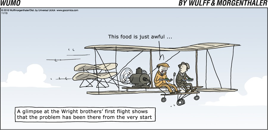 A glimpse at the Wright brothers' first flight shows that the problem has been there from the very start