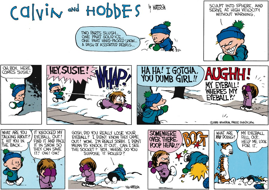 Calvin:  Two parts slush, one part solid ice..one part hard-packed snow..a dash of assorted debris...sculpt into sphere and serve at high velocity without warning.  Oh boy, here comes Susie!  Hey, Susie!  Whap!  Ha ha!  I gotch, you dumb girl!!  Susie:  Aughh!  My eyeball!! Where's my eyeball?!  Calvin:  What are you talking about?  I hit you in the back.  Susie:  It knocked my eyeball out!  Find it and pack it in snow so they can save it! Ow! Ow!  Calvin:  Gosh, did you really lose your eyeball?  I didnt' know they came out!  Wow.  I'm really sorry.  I didn't mean to knock it out.  Can I see the socket?  Boy, where do you suppose it rolled?  Susie:  Somewhere over there, poop head!!  Hobbes:  What are you doing?  Calvin:  My eyeball fell out, help me look for it.