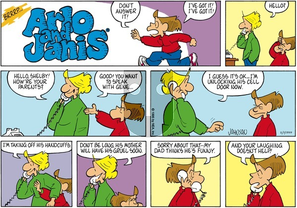 Arlo and Janis on Sunday February 7, 1999 Comic Strip