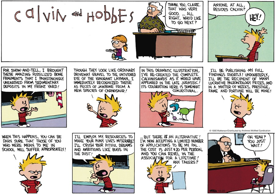 Calvin and Hobbes Comic Strip for December 20, 2020