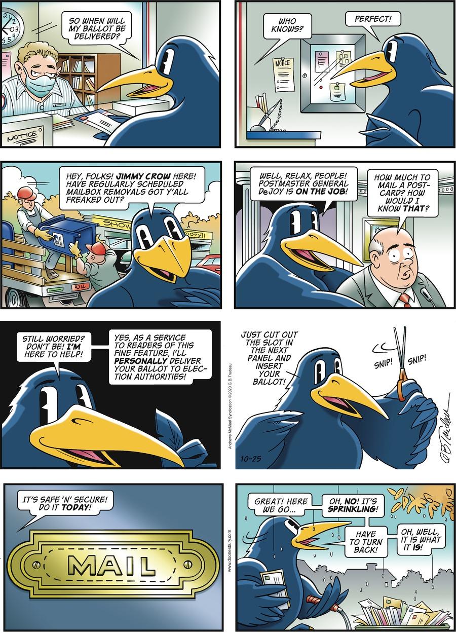 Doonesbury Comic Strip for October 25, 2020