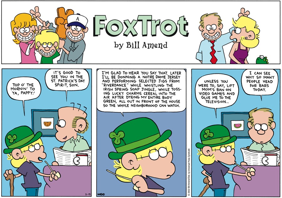 FoxTrot Comic Strip for March 17, 2002