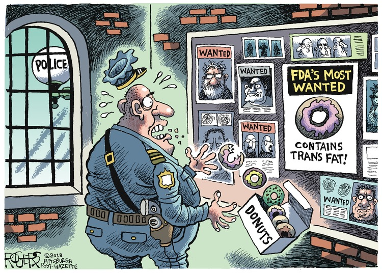 POLICE WANTED WANTED WANTED FDA'S MOST WANTED Contains Trans Fat!  WANTED DONUTS
