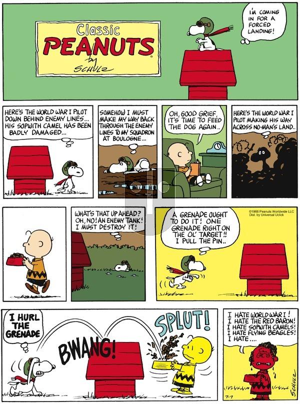 Peanuts - Sunday July 7, 2013 Comic Strip