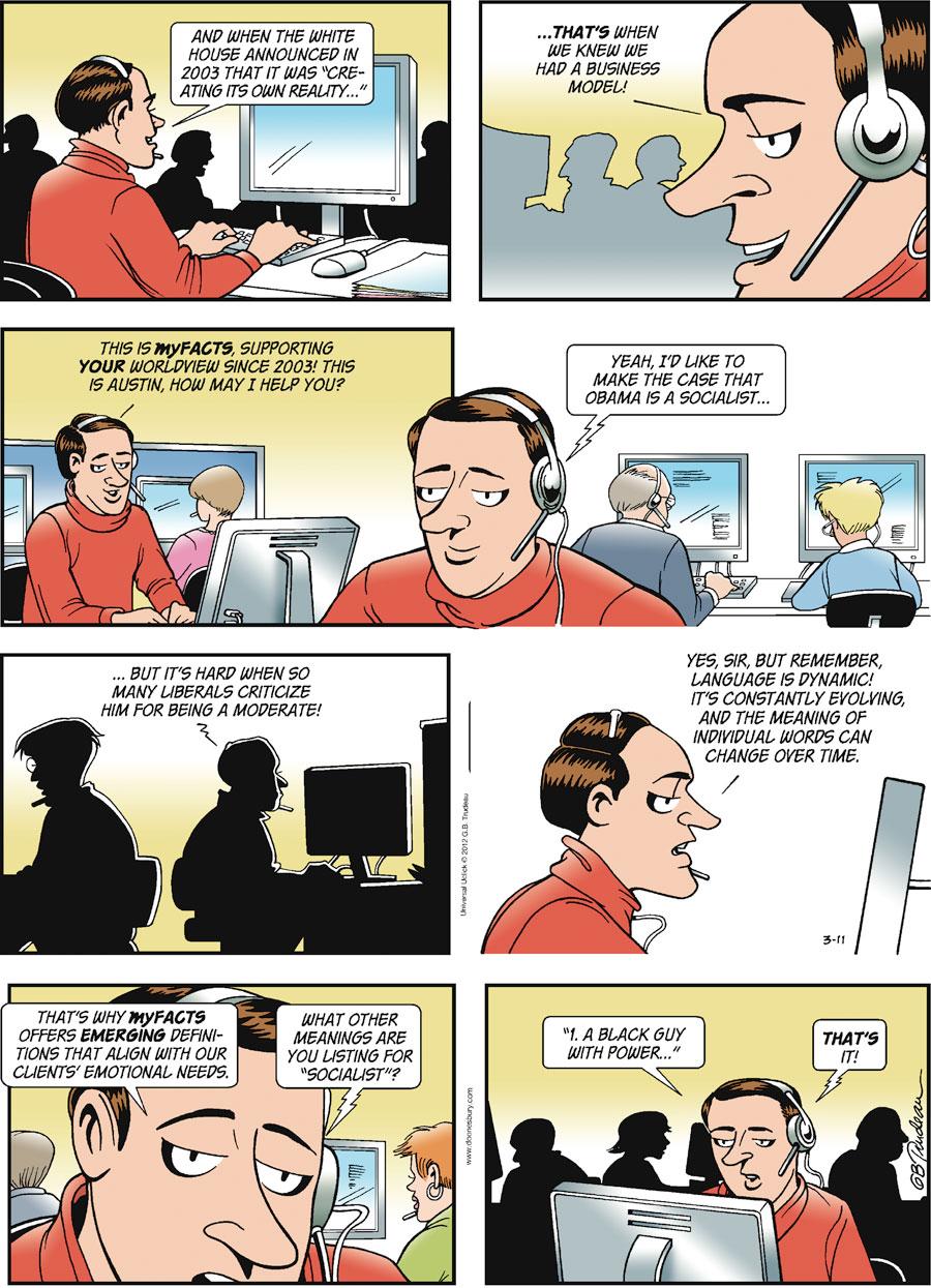 Doonesbury Comic Strip for March 11, 2012
