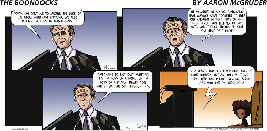 The Boondocks Comic Strip for October 02, 2005