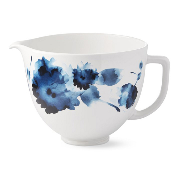 In addition to KitchenAid's yummy misty blue Limited Edition Heritage Artisan mixer, with creamy white hobnailed bowl, a retro delight, the brand introduced several decorative limited-edition bowls, which you can change out to give this workhorse a fashion look. This ink watercolor ceramic model holds 5 quarts (to fit all 4.5- and 5-quart tilt-head stand mixers), suitable for all your mixing, whipping and kneading tasks. It's freezer, microwave, dishwasher and oven safe (to 475 degrees), crafted with titanium-reinforced ceramic to resist chipping, cracking, crazing and staining.