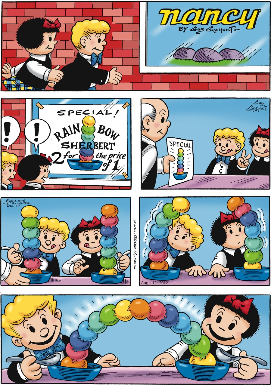 Caption: nancy By Guy Gilchrist. Rollo: !  Nancy: ! Sign reads: SPECIAL! RAINBOW SHERBERT 2 for the price of 1.