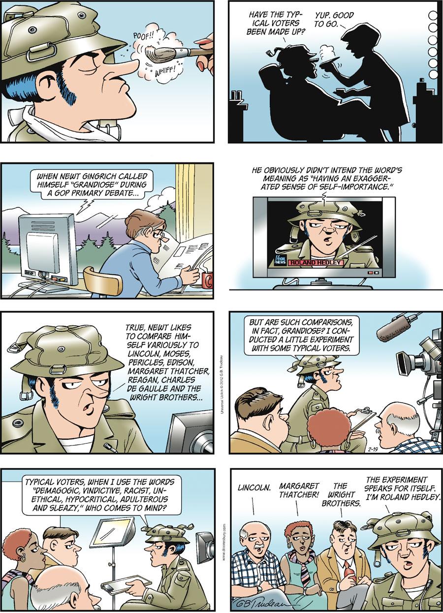 Doonesbury Comic Strip for February 19, 2012