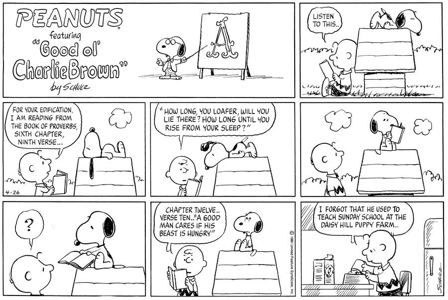 Peanuts for Apr 26, 1981 Comic Strip