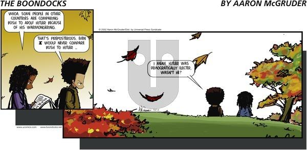 The Boondocks on Sunday October 13, 2002 Comic Strip