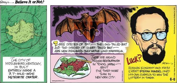 Ripley's Believe It or Not on Sunday June 6, 2021 Comic Strip