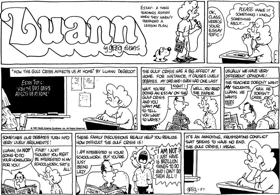 Luann Againn Comic Strip for January 27, 2019